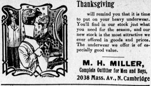 Advertisement for heavy underwear from the Cambridge Chronicle, 22 November 1902