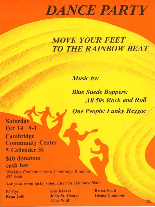 Flyer for 1989 Dance Party to benefit the Working Committee for the Cambridge Rainbow