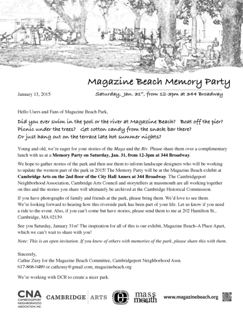 Invitation for Magazine Beach Memory Party