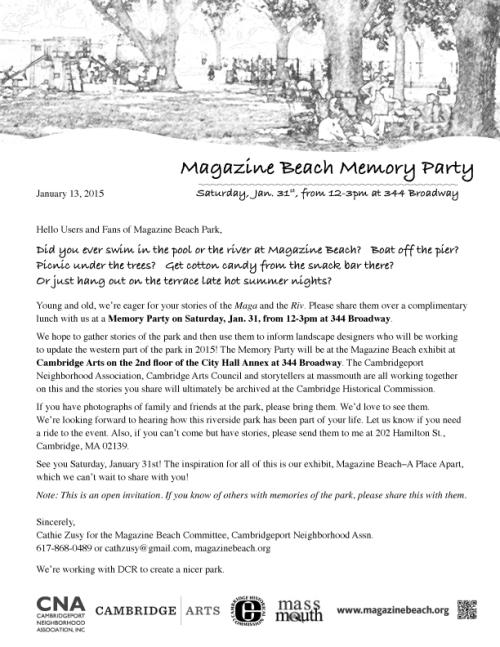 Invitation for Magazine Beach Memory Party