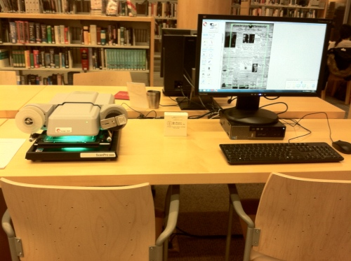 Microfilm reader/scanner at the Main Library