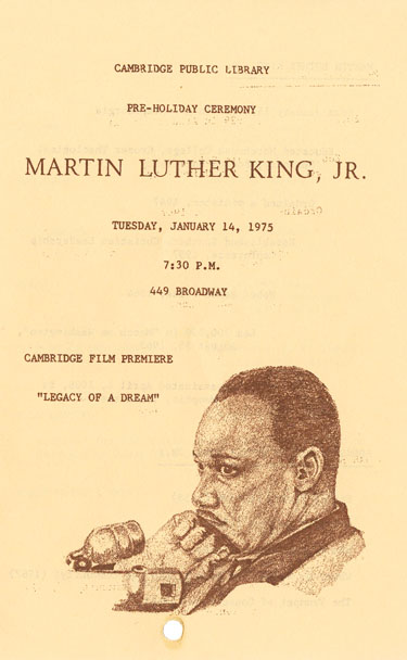 Cover of program for MLK ceremony at the Cambridge Public Library, January 14, 1975