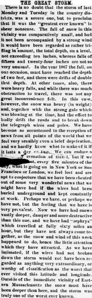 Article from the Cambridge Press, 17 March 1888