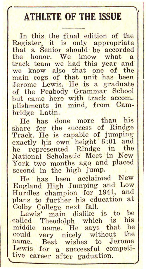 "Profile of ""Athlete of the Issue"" Jerome Lewis from the Rindge Register high school newspaper, June 18, 1941 issue"