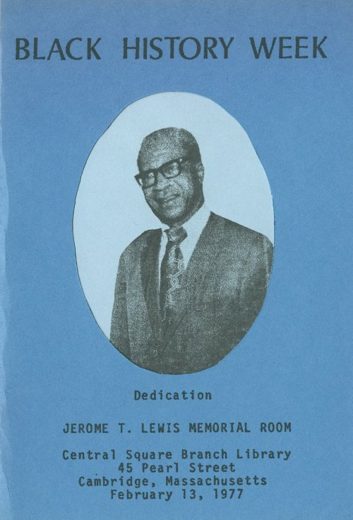 Cover of the program for the dedication of the Jerome T. Lewis Memorial Room at the Central Square Branch of the Cambridge Public Library, February 13, 1977